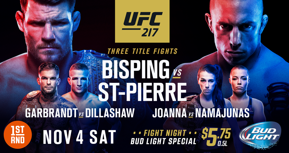 UFC 217 LIVE AT BOTH 1ST RND LOCATIONS!!